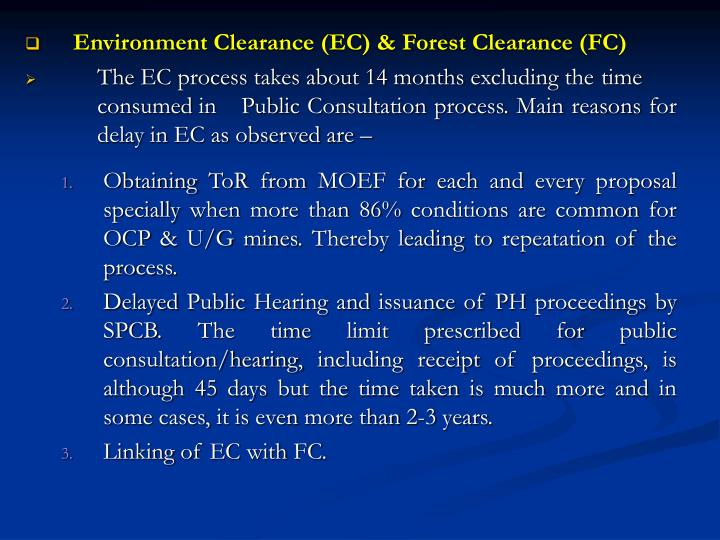 Environment Clearance (EC) & Forest Clearance (FC)