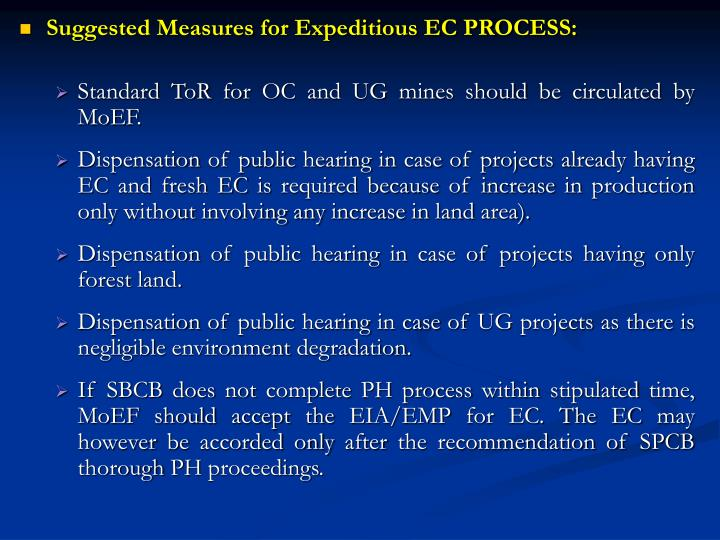 Suggested Measures for Expeditious EC PROCESS:
