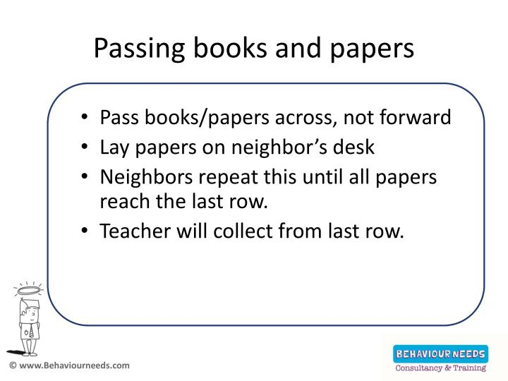 Passing books and papers
