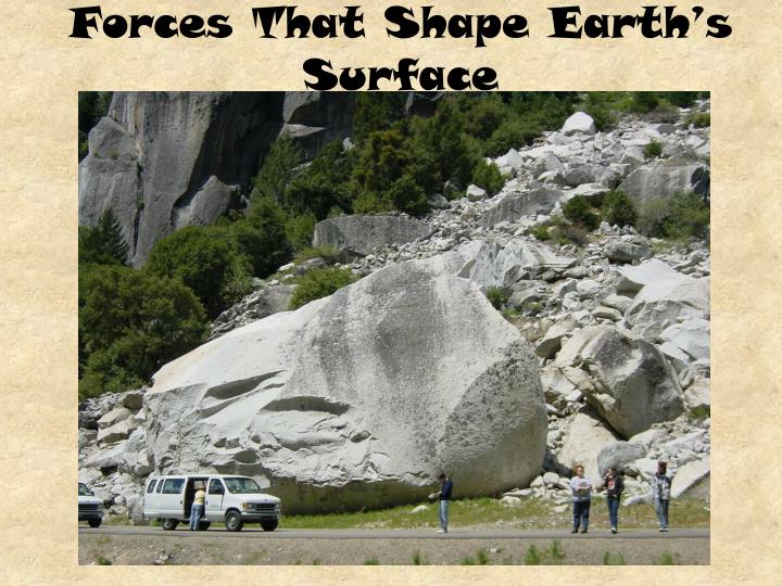 forces that shape the earth Powerpoint slideshow about 'forces that shape the earth' - orly earth's continents were once joined in a single large landmass called pangaea that broke apart millions of years ago continents have drifted to their current location.