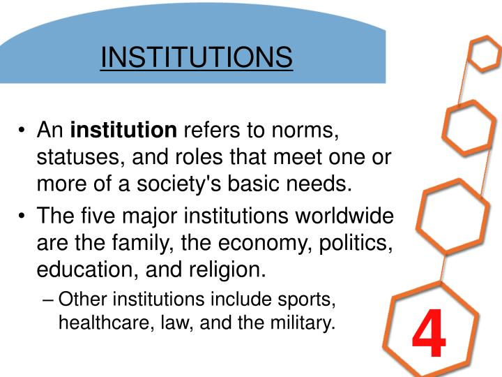 5 major institutions of society