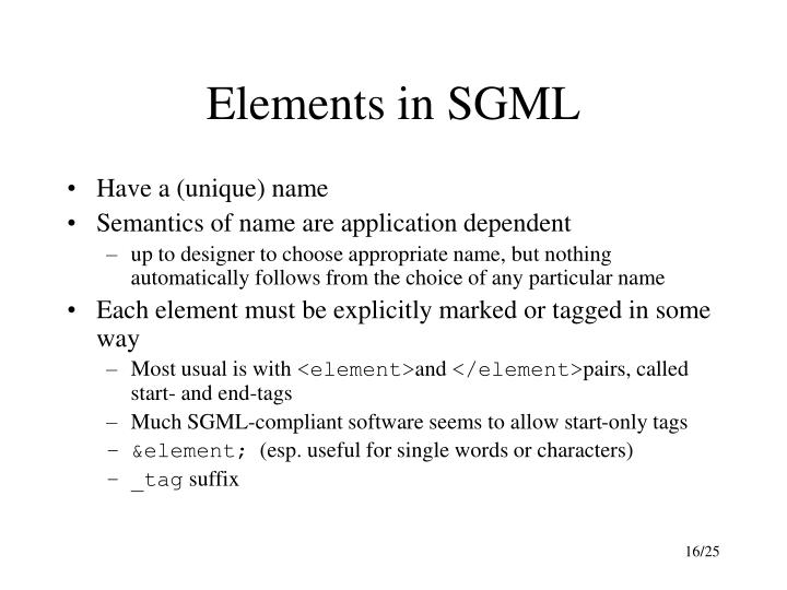 Elements in SGML