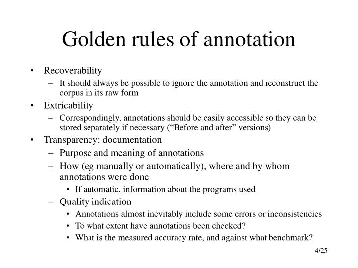 Golden rules of annotation