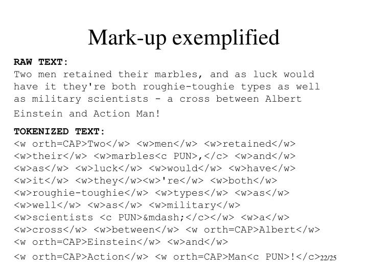 Mark-up exemplified