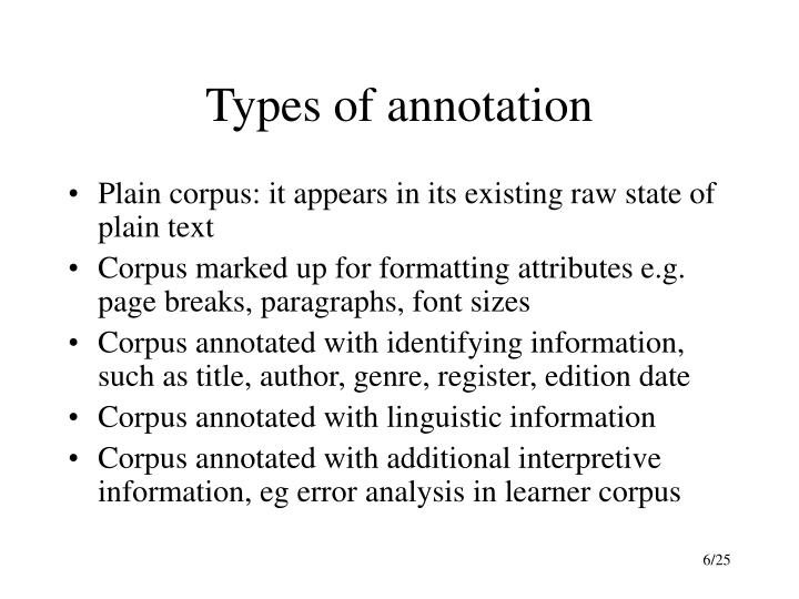 Types of annotation