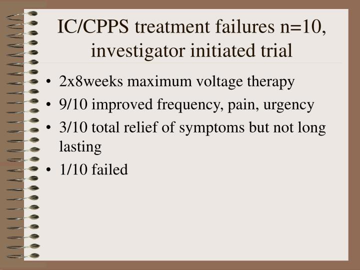 IC/CPPS treatment failures n=10, investigator initiated trial