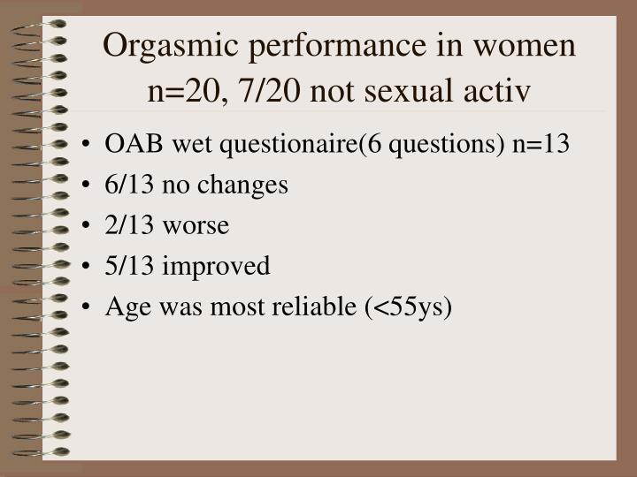 Orgasmic performance in women n=20, 7/20 not sexual activ