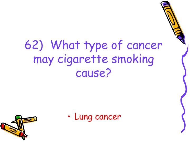 62)  What type of cancer may cigarette smoking cause?