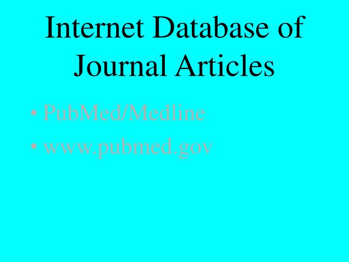 Internet Database of Journal Articles