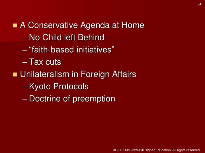 A Conservative Agenda at Home
