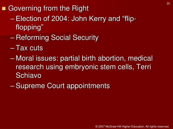 Governing from the Right