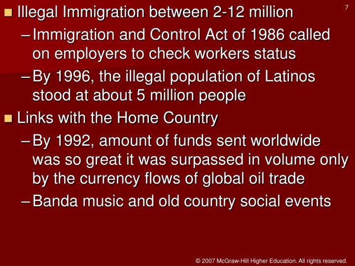 Illegal Immigration between 2-12 million