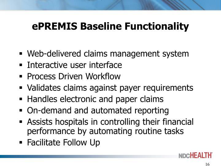 ePREMIS Baseline Functionality