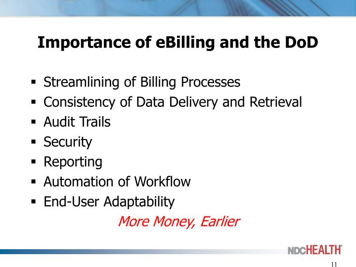 Importance of eBilling and the DoD