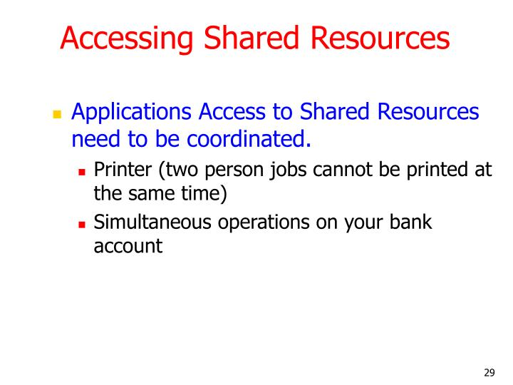 Accessing Shared Resources