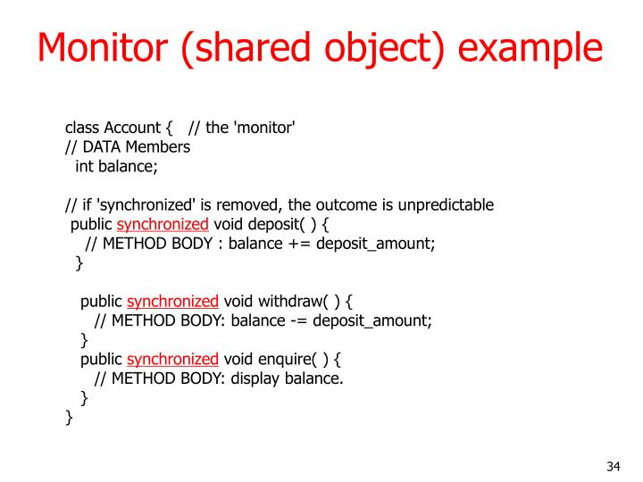 Monitor (shared object) example