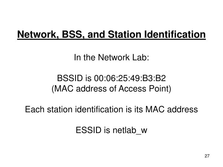 Network, BSS, and Station Identification
