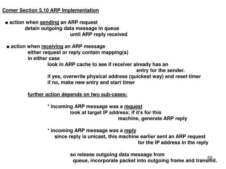Comer Section 5.10 ARP Implementation