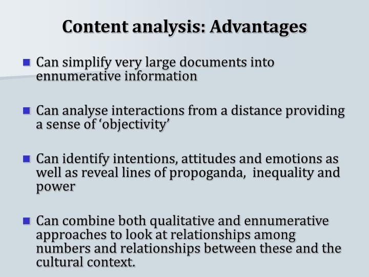 Content analysis: Advantages
