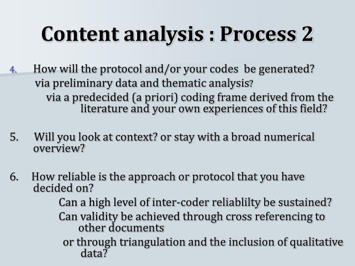 Content analysis : Process 2
