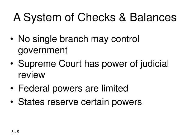 A System of Checks & Balances