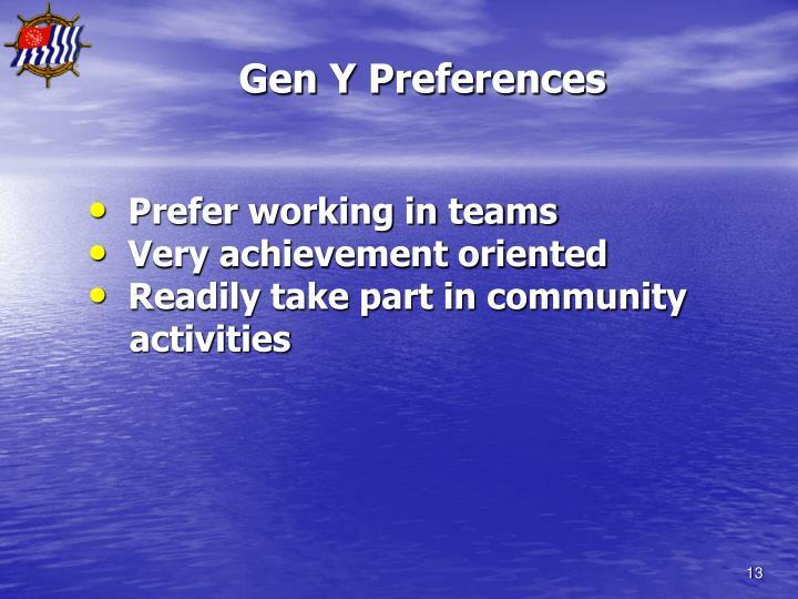 Gen Y Preferences
