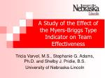 a study of the effect of the myers briggs type indicator on team effectiveness