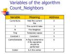 variables of the algorithm count neighbors