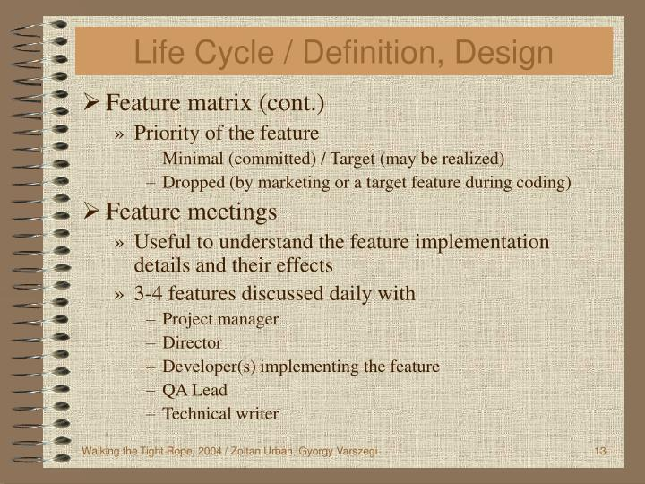 Life Cycle / Definition, Design