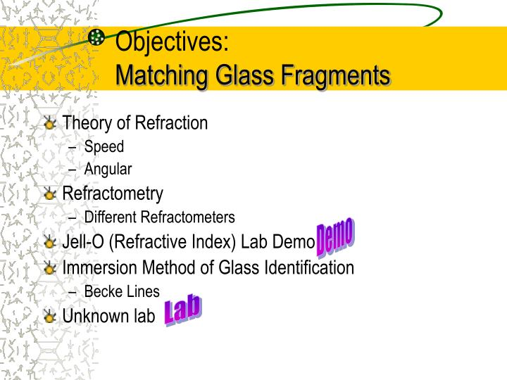 Objectives matching glass fragments