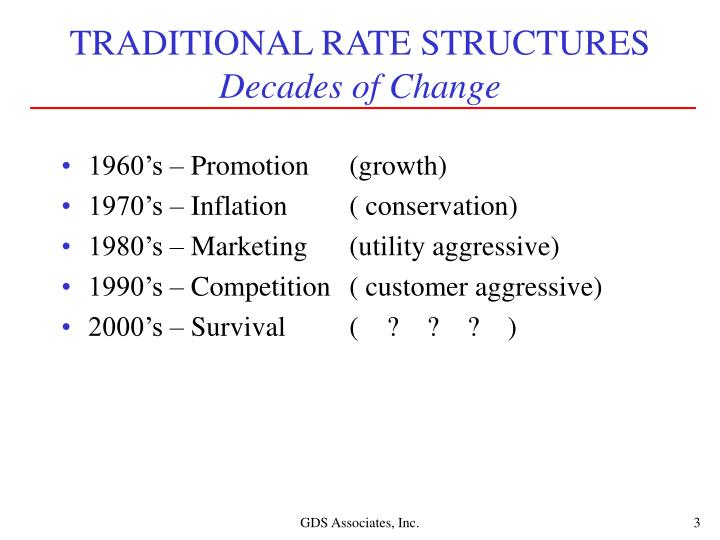 Traditional rate structures decades of change