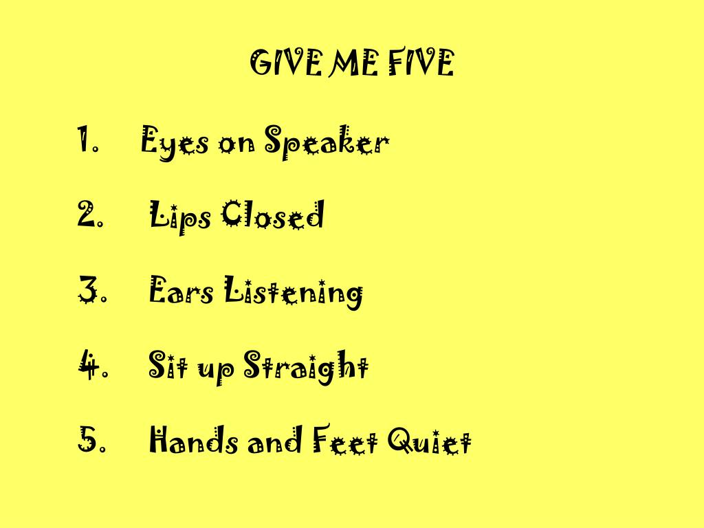 give me five l.