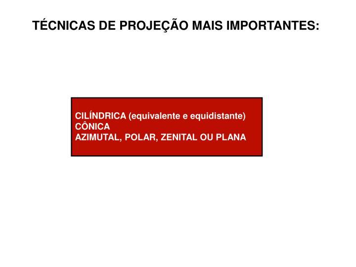 TÉCNICAS DE PROJEÇÃO MAIS IMPORTANTES: