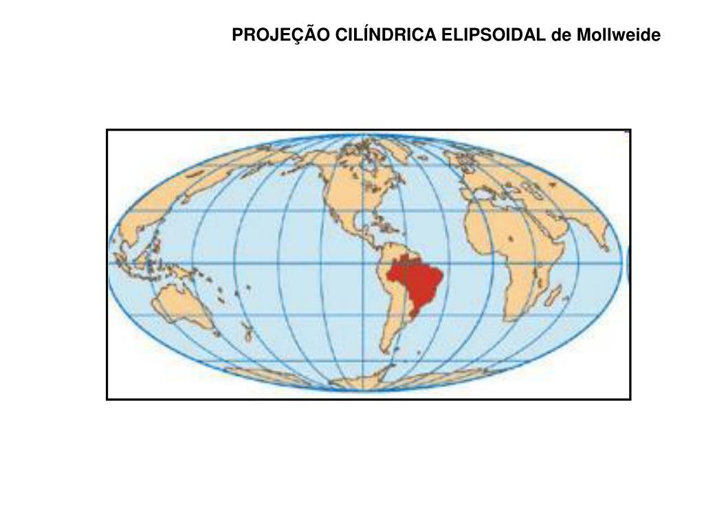 PROJEÇÃO CILÍNDRICA ELIPSOIDAL de Mollweide