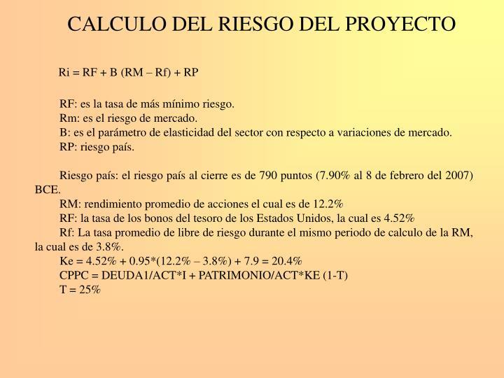 CALCULO DEL RIESGO DEL PROYECTO