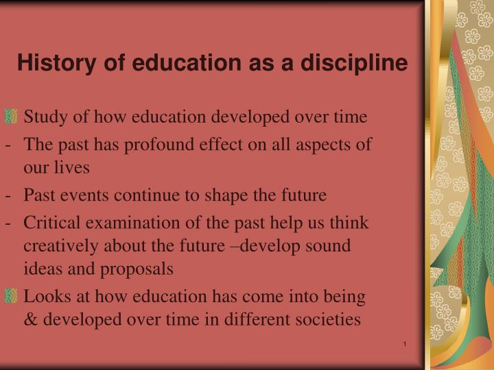 history of education as a discipline n.