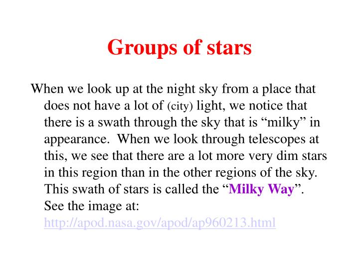 Groups of stars