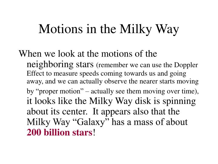 Motions in the Milky Way