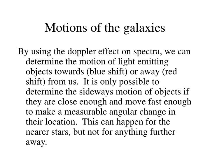 Motions of the galaxies