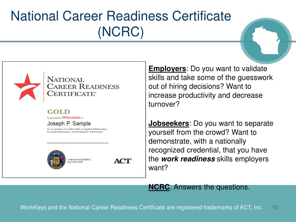 readiness certificate career national job ncrc wisconsin january service act ppt powerpoint presentation skills