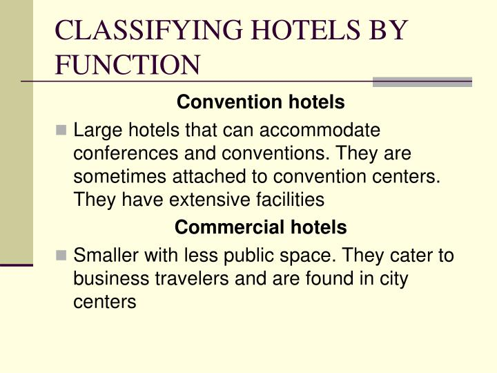 CLASSIFYING HOTELS BY FUNCTION