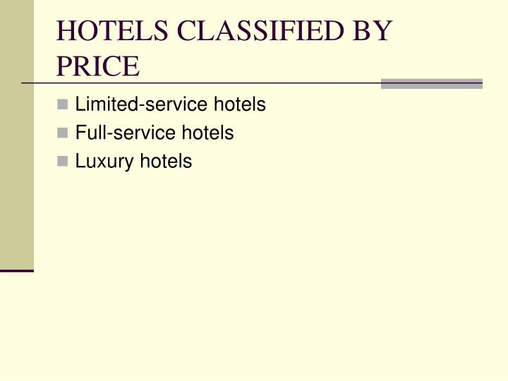 HOTELS CLASSIFIED BY PRICE