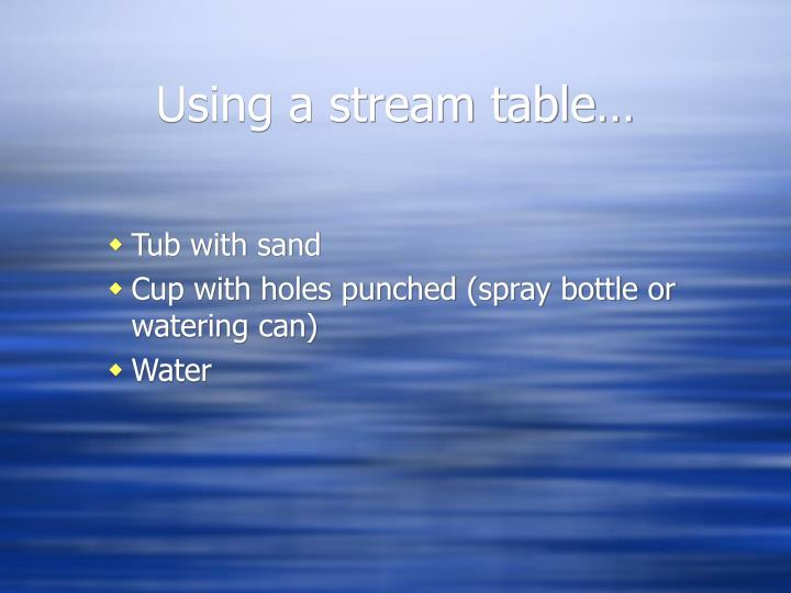 Using a stream table…