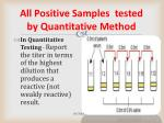 all positive samples tested by quantitative method