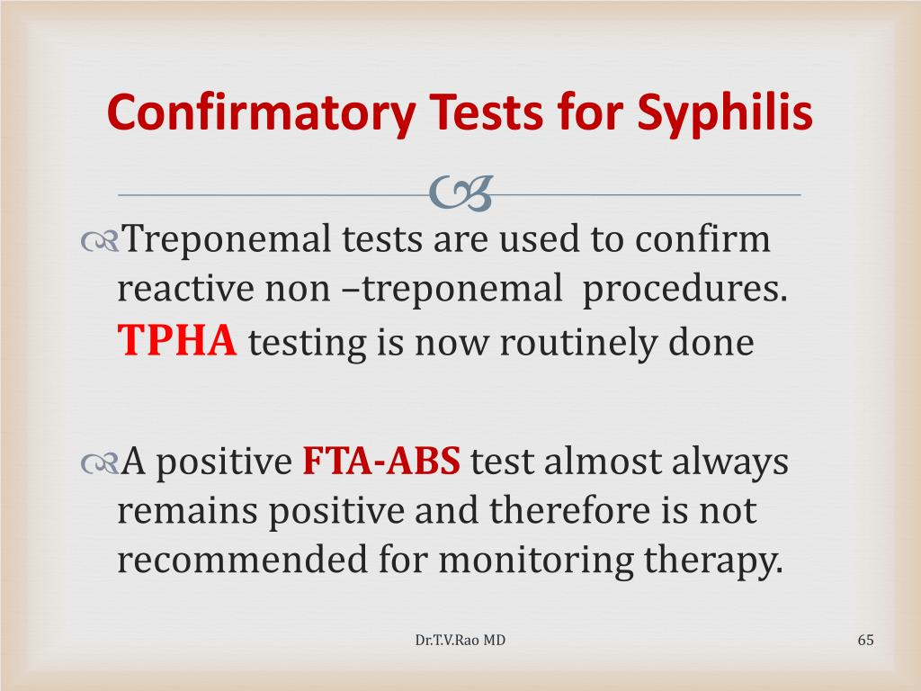 Confirmatory Tests for Syphilis