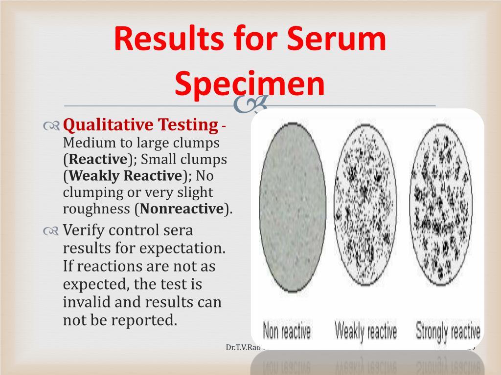 Results for Serum Specimen