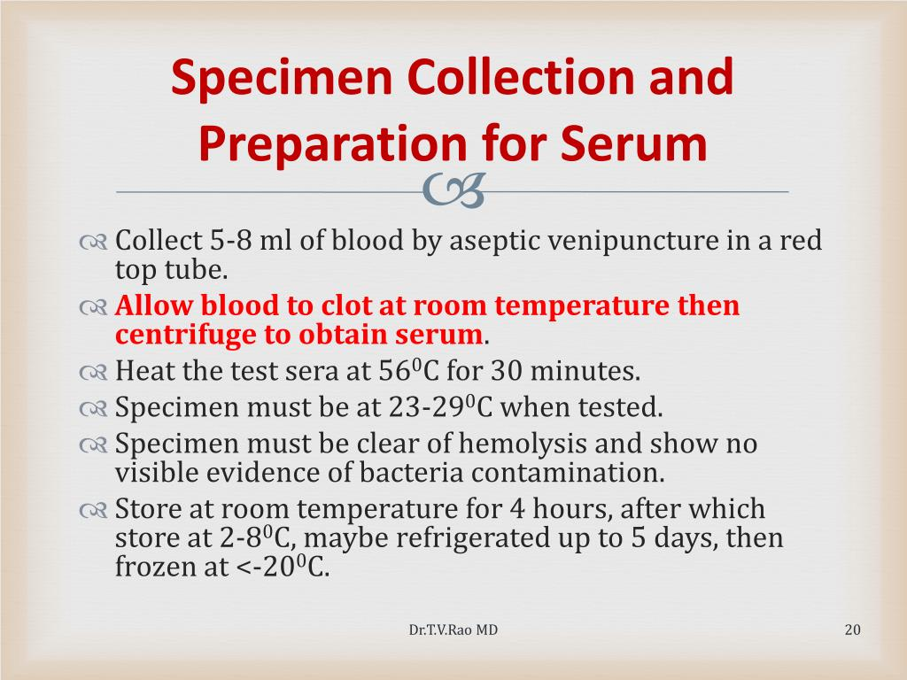Specimen Collection and Preparation for Serum
