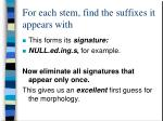 for each stem find the suffixes it appears with