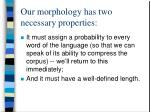 our morphology has two necessary properties
