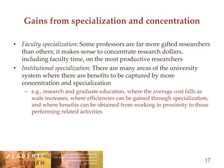 Gains from specialization and concentration